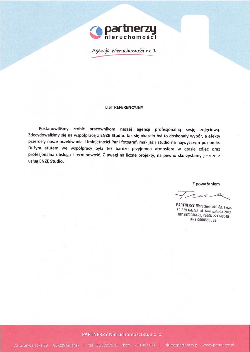 Referencje - sesja koprpoacyjna Partnerzy Nieruchomości - Gdańsk