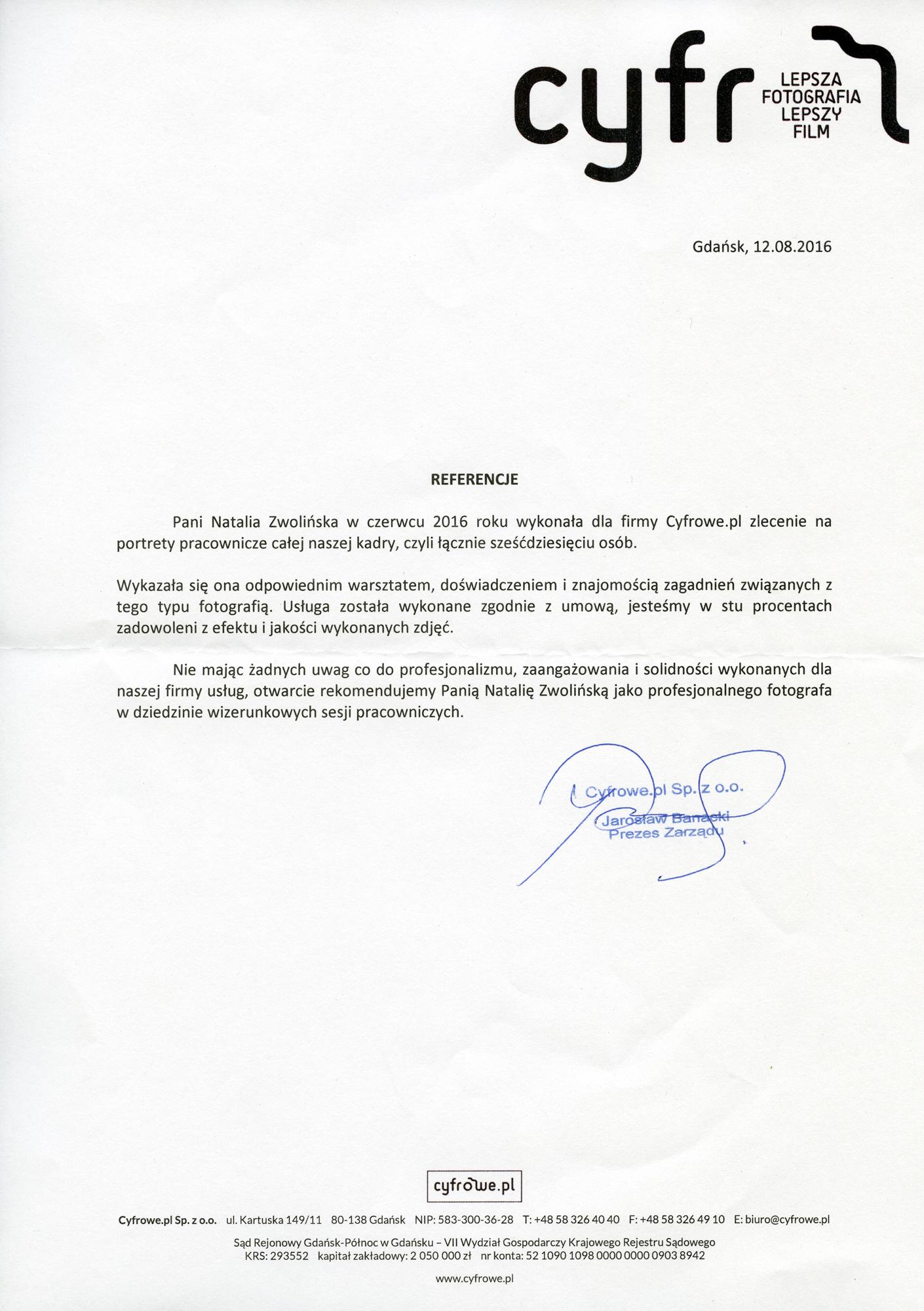 Referencje - Sesja korporacyjna - Cyfrowe.pl - Gdańsk